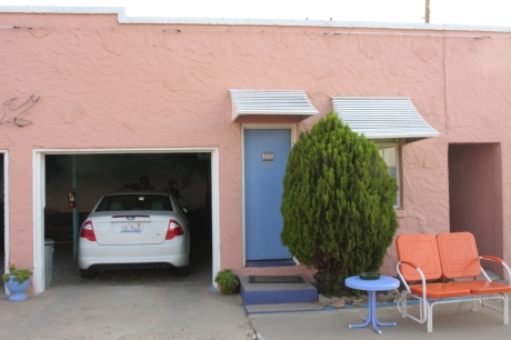 Our own garage. Little did I know that only vintage cars can be in the spots.  oops.