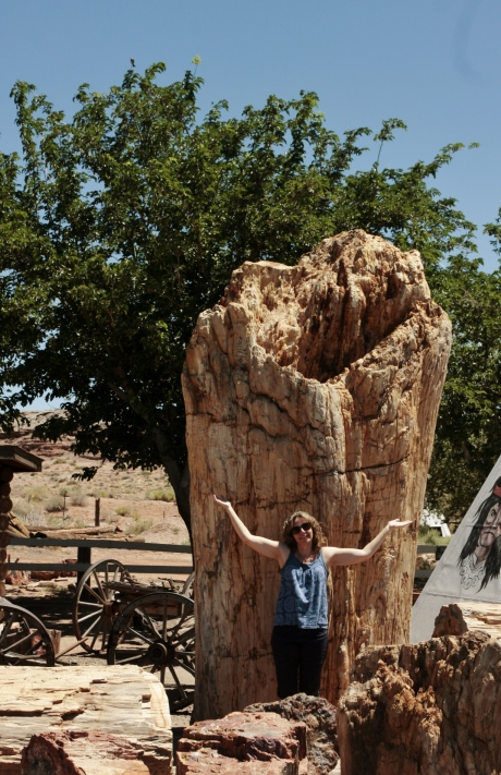 Kristen with the Giant Petrified Tree.
