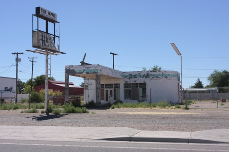 An old gas station, out of business.