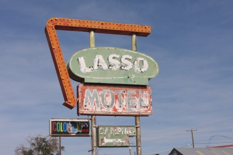 Lasso Motel.  All that remains of this place is the sign.